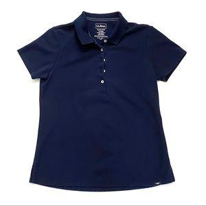 LL Bean Cotton Short Sleeve Polo Shirt Blue S